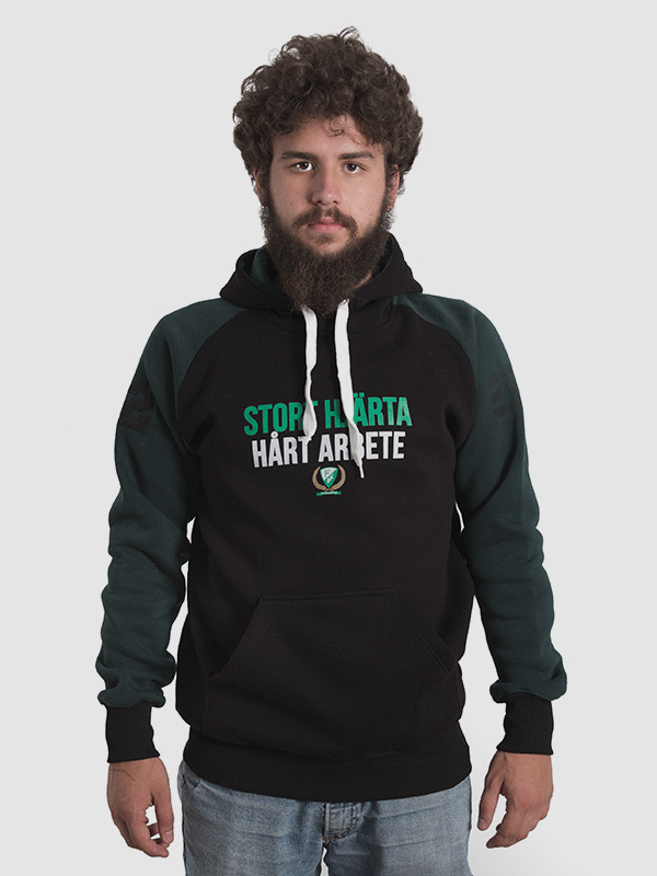 Male model wearing men's black and dark green hoodie. Front is shown.