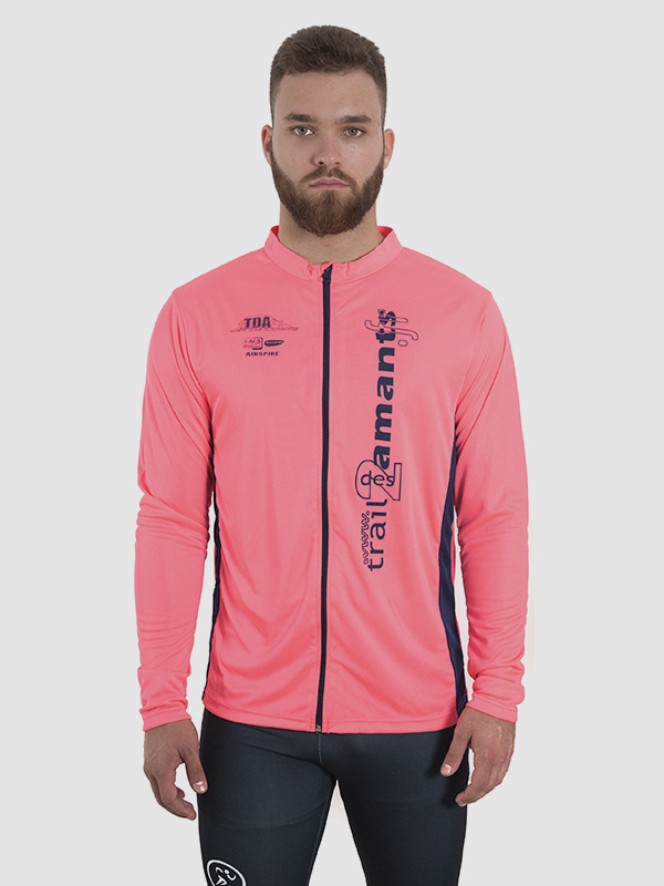 A male model wearing a pink all-over dye-sublimated running jacket. Front side is shown.