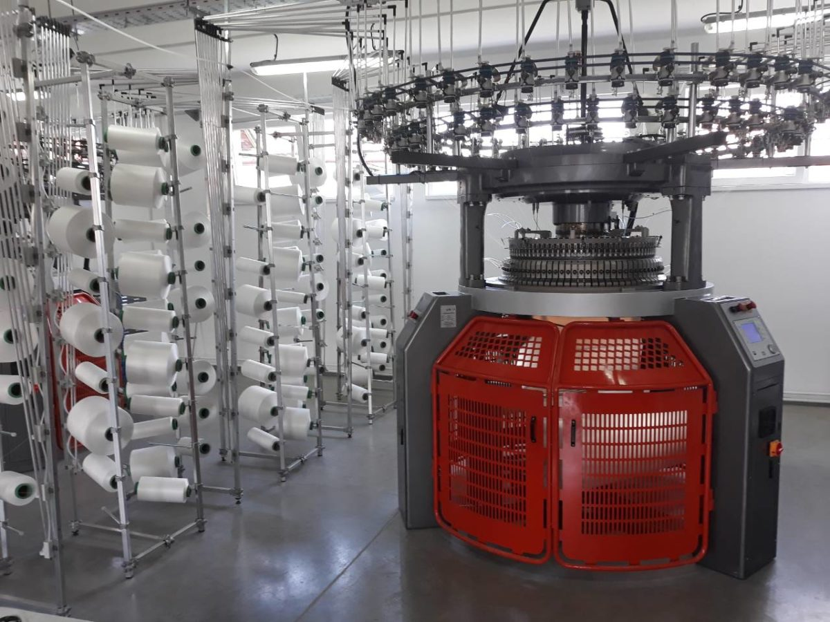 Photo of a circular knitting machine at the FUSH clothing manufacturer factory in Oraovica, South-Eastern Serbia.