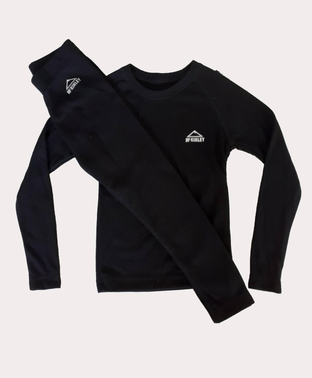 Photo of black McKinley sports underwear: long-sleeved top and long leggings.