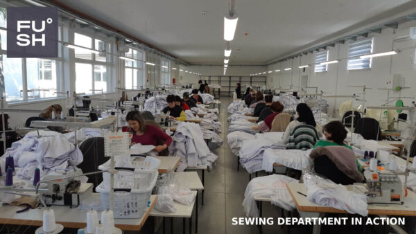 Photo of the sewing technicians at work at the FUSH clothing factory in Oraovica, South-Eastern Serbia.