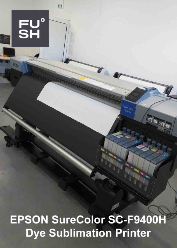 Photo of the Epson SureColor SC-F9400H dye sublimation at the FUSH clothing factory. FUSH logo is visible in the upper left corner of the photo.