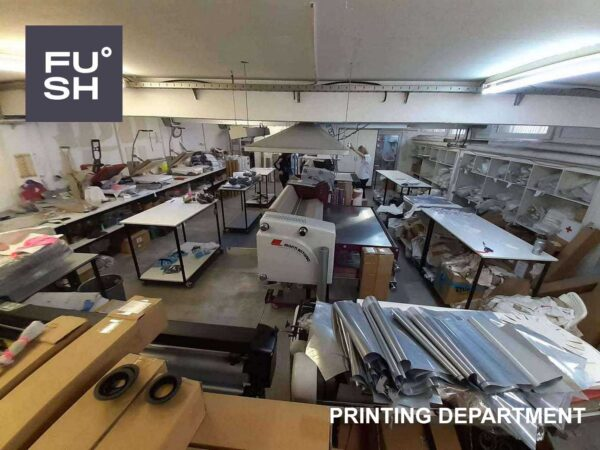 Photo of Monti Antonio dye sublimation printers and screen printing machines at the FUSH printing department.