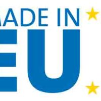 Made in Europe logo, blue letters, yellow stars