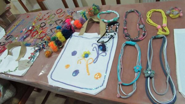 Necklaces made from trimmings from the FUSH clothing factory.