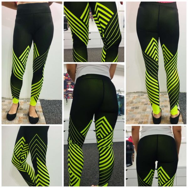 Leggings that show workout progress. Traditional dyeing and dye sublimation combined to achieve the colour changing effect.