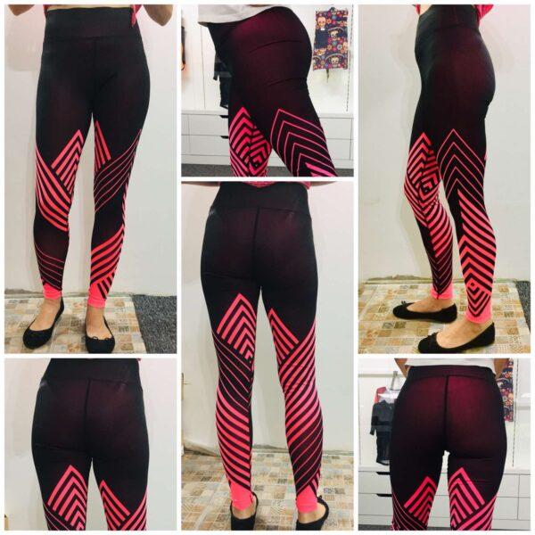 custom all over print leggings that change colour as an indication of workout progress.