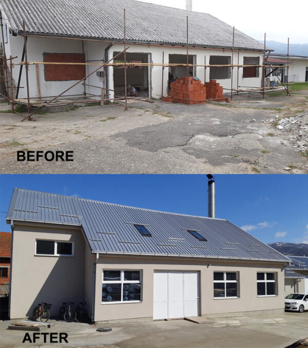 Two images of the same building before and after reconstruction