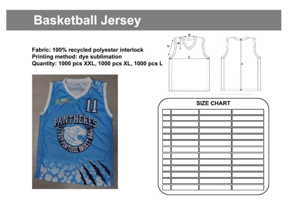 Tech pack for a basketball jersey. An image of a basketball jersey, technical drawing, and size chart are shown.