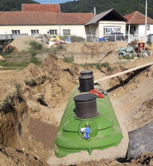 RotoClear 40 wastewater treatment system in the ground.
