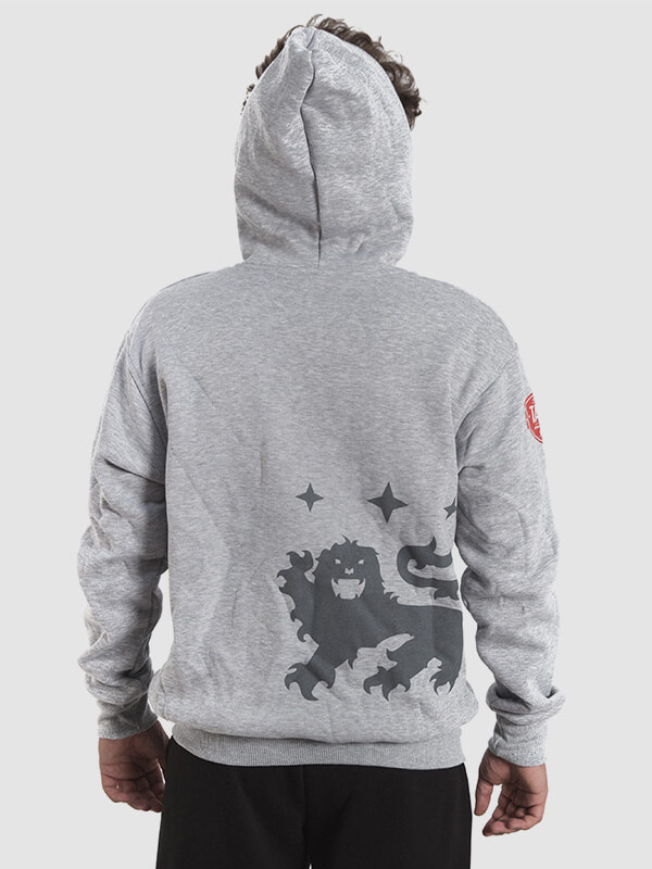 A meal wearing a grey hoodie with a dark gray print of a lion on the back.