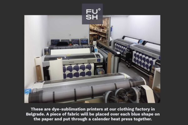 Image of dye sublimation printers at a clothing factory, FUSH logo and text explaining the picture.