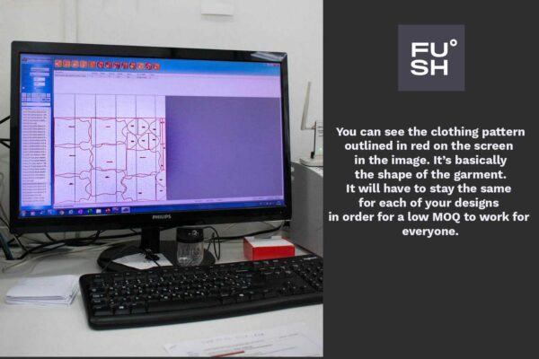 Computer screen that shows the automatic fabric cutting software, FUSH logo, and text that explains the picture.