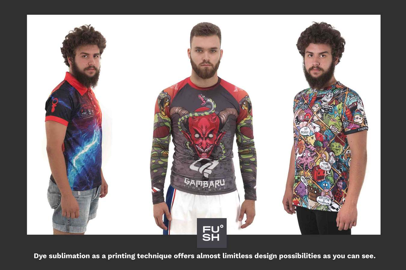 """Image of three male models wearing different types of all-over sublimation clothing. """"FUSH"""" logo and description text are visible."""