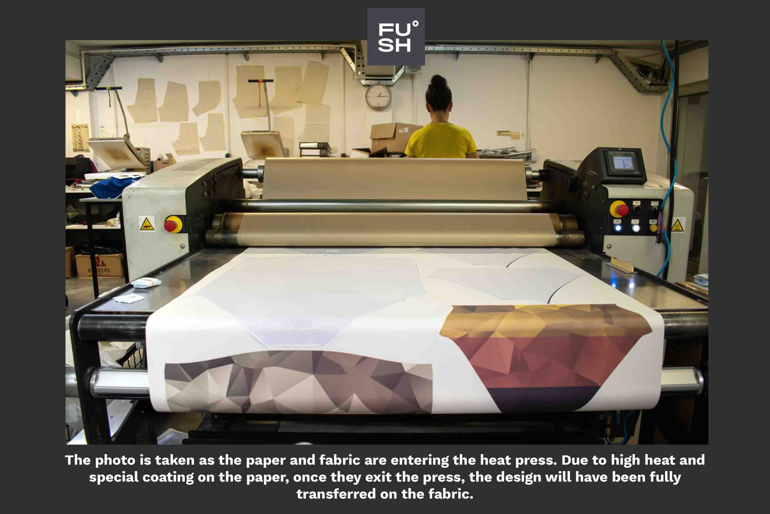 Photo of a calender heat press at a clothing factory.