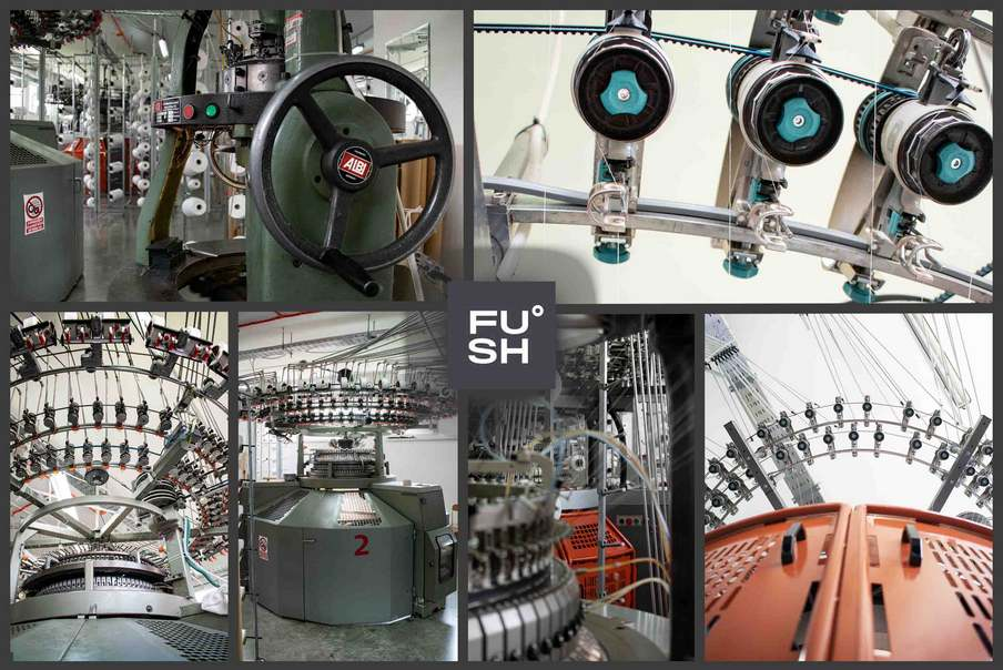 A collage of images of circular knitting machines. The