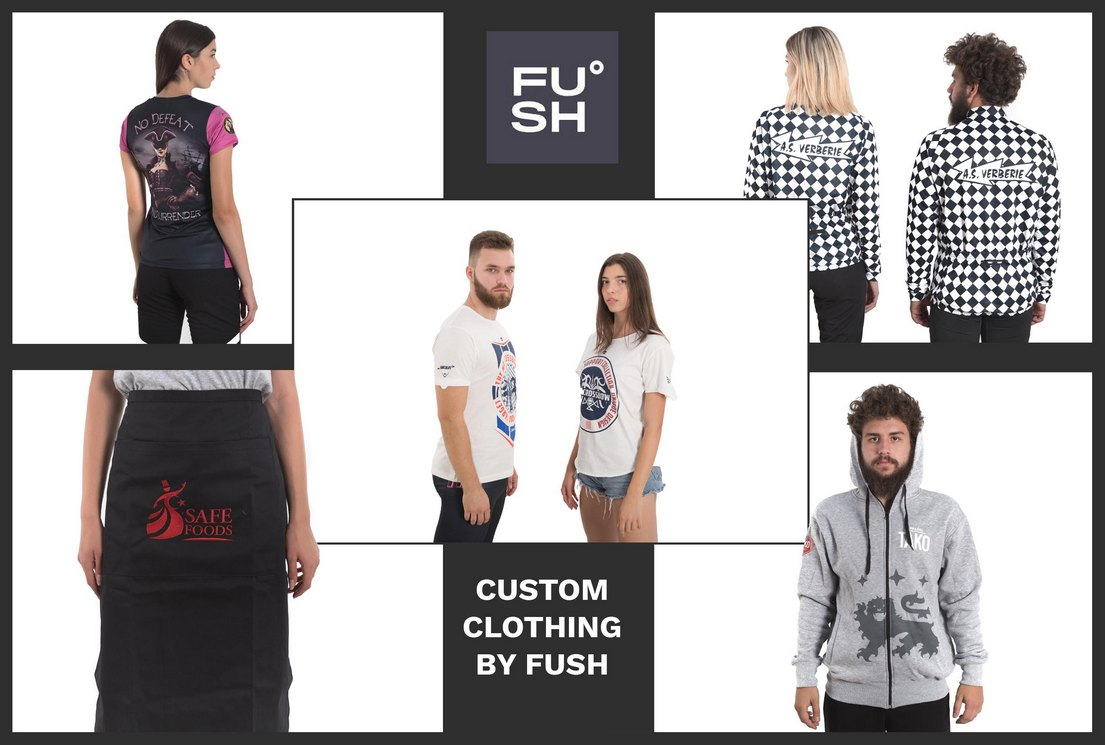 A collage of images with models that wear customized garments made in FUSH clothing factories.
