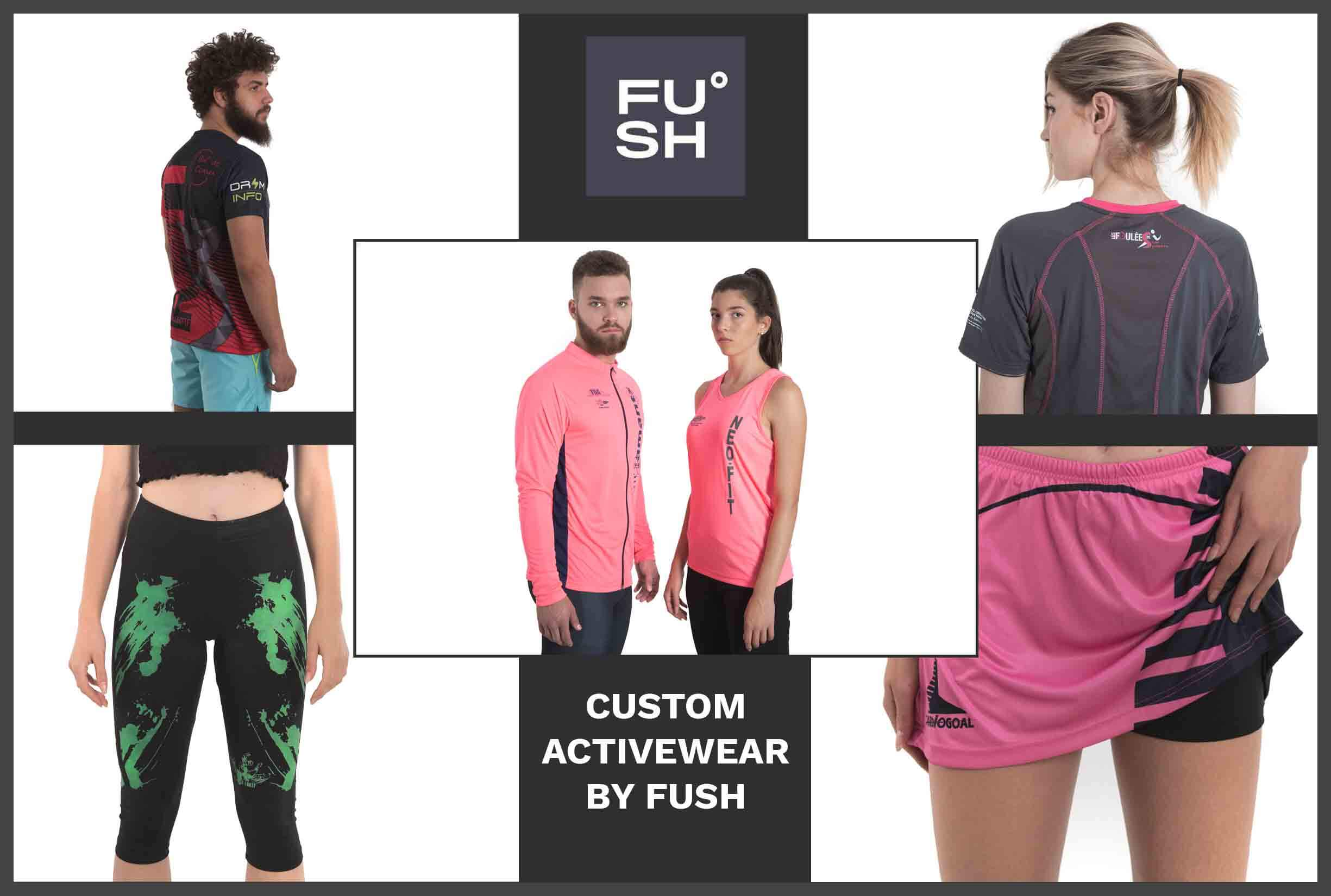 """A collage of images of models wearing custom activewear. """"FUSH"""" logo and description are visible."""