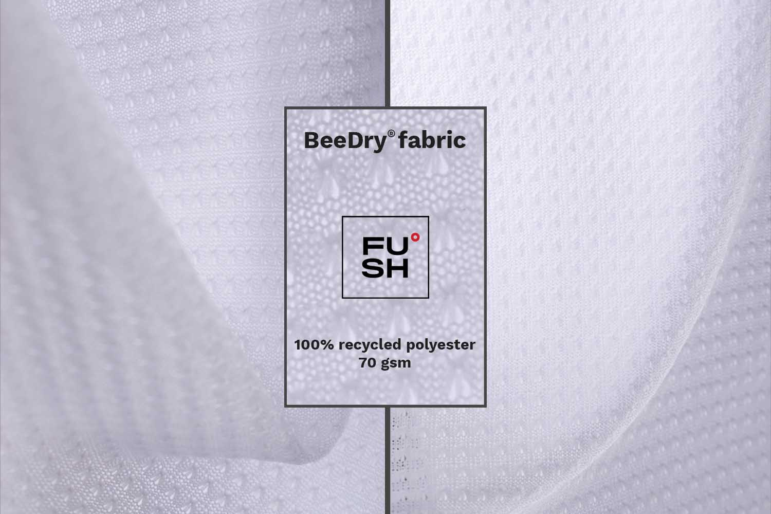 """A collage of images of a sample of polyester fabric. """"FUSH"""" logo and description text are visible."""