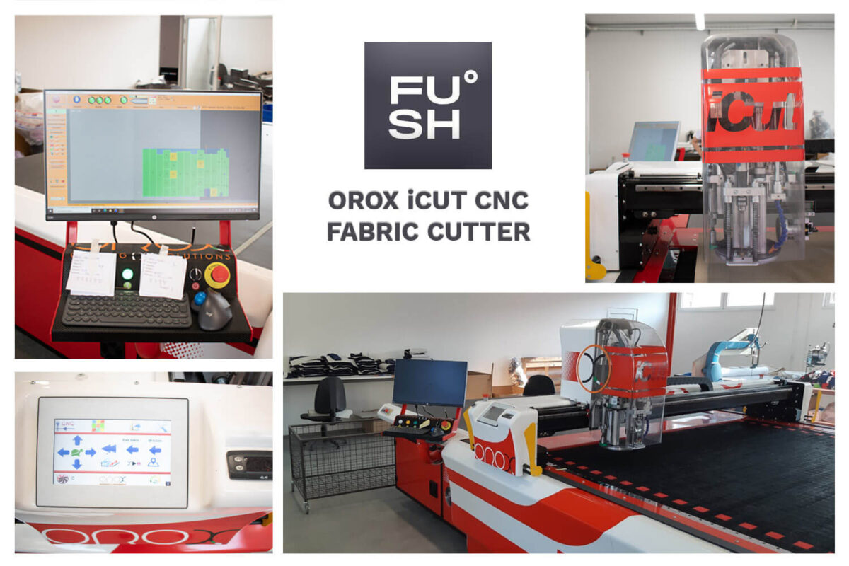 Collage of images of a CNC fabric cutter that streetwear manufacturers often use